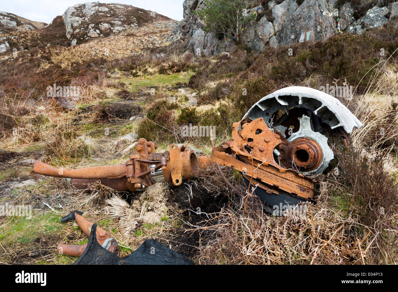 Wreckage from a B-24H Liberator Bomber which crashed on 13th June 1945 at the Fairy Lochs, Sidhean Mor, Gairloch Scotland - Stock Image