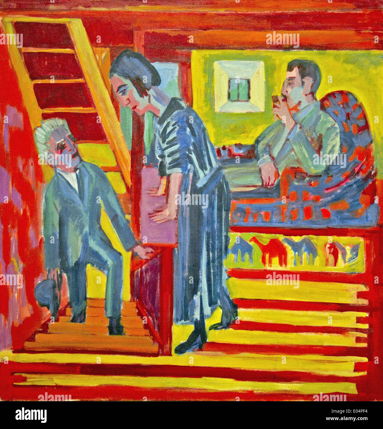 Ernst Ludwig Kirchner The Visit - Couple and Newcomer - Stock Image