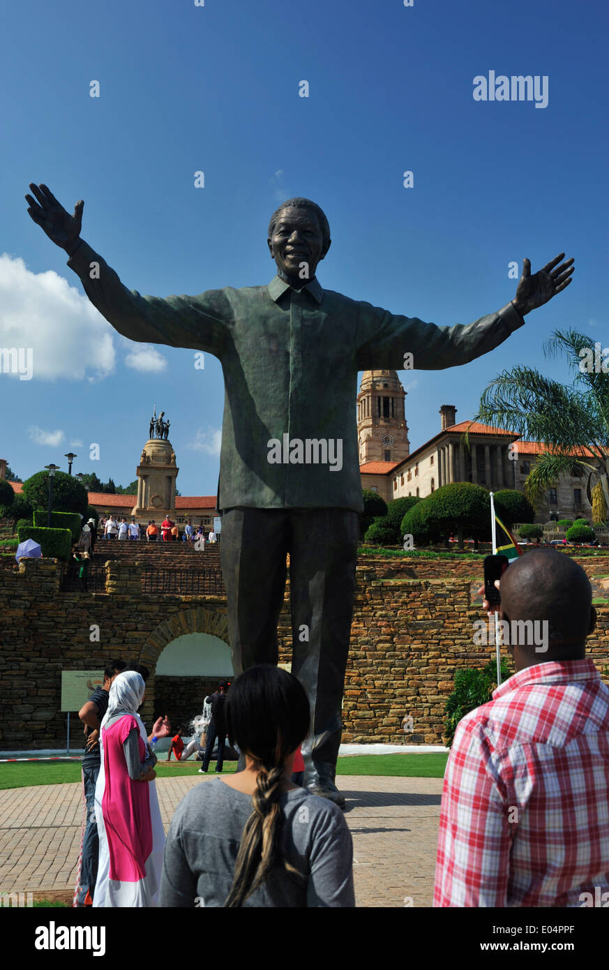 Pretoria, Gauteng, South Africa, people viewing statue of Nelson Mandela at Union Buildings, seat of government, city - Stock Image
