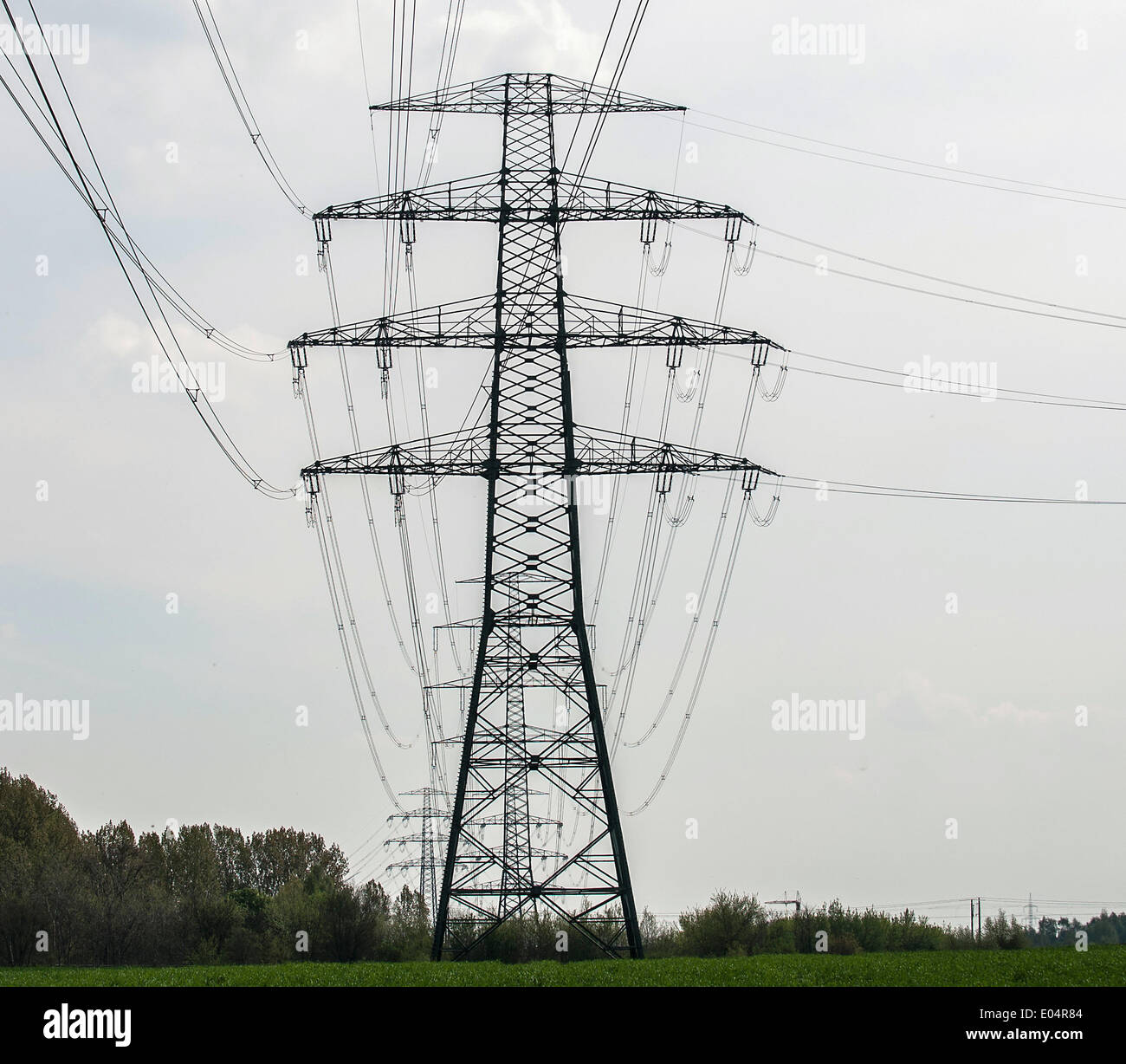 Berlin, Germany. 22nd Apr, 2014. High voltage power lines span ...