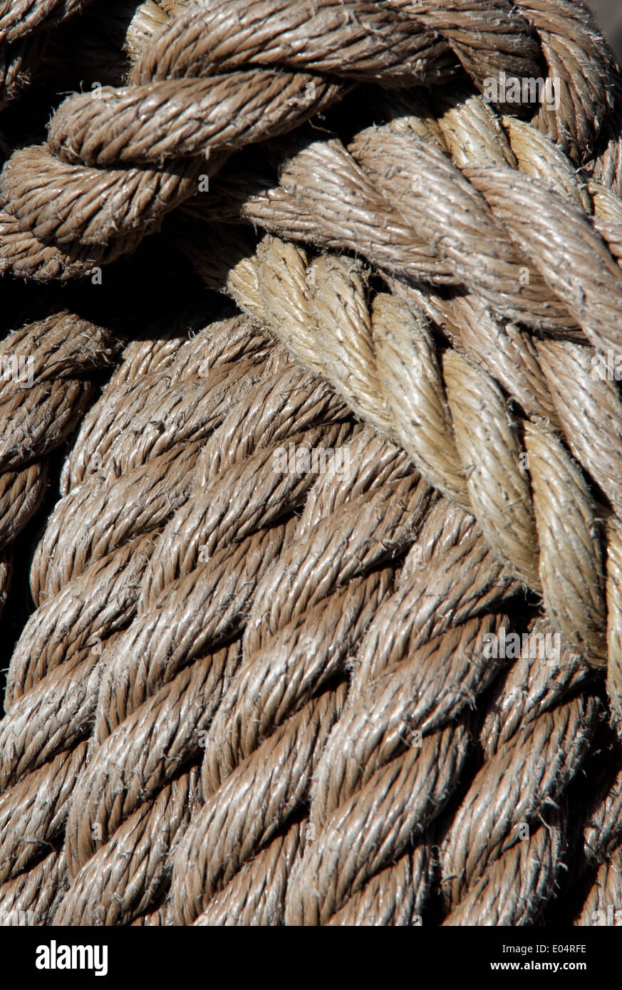 Thick ropes of a ship of rope, Dicke Seile eines Schiff Taues - Stock Image