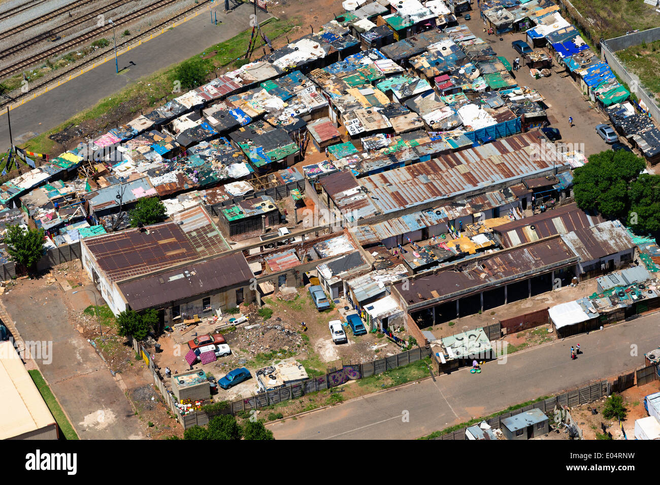 Aerial view of an informal settlement in central Johannesburg.South Africa - Stock Image