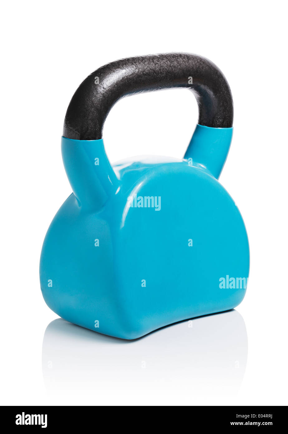 Modern ergonomic vinyl coated kettlebell isolated on white with natural reflection. - Stock Image