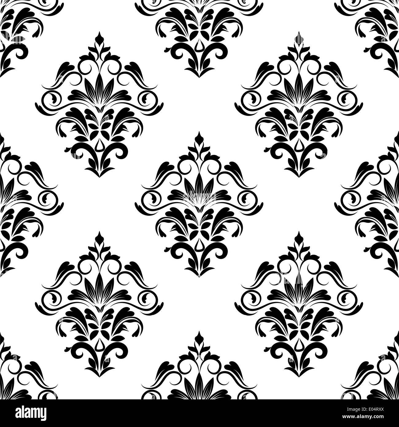 Seamless Black And White Damask Wallpaper