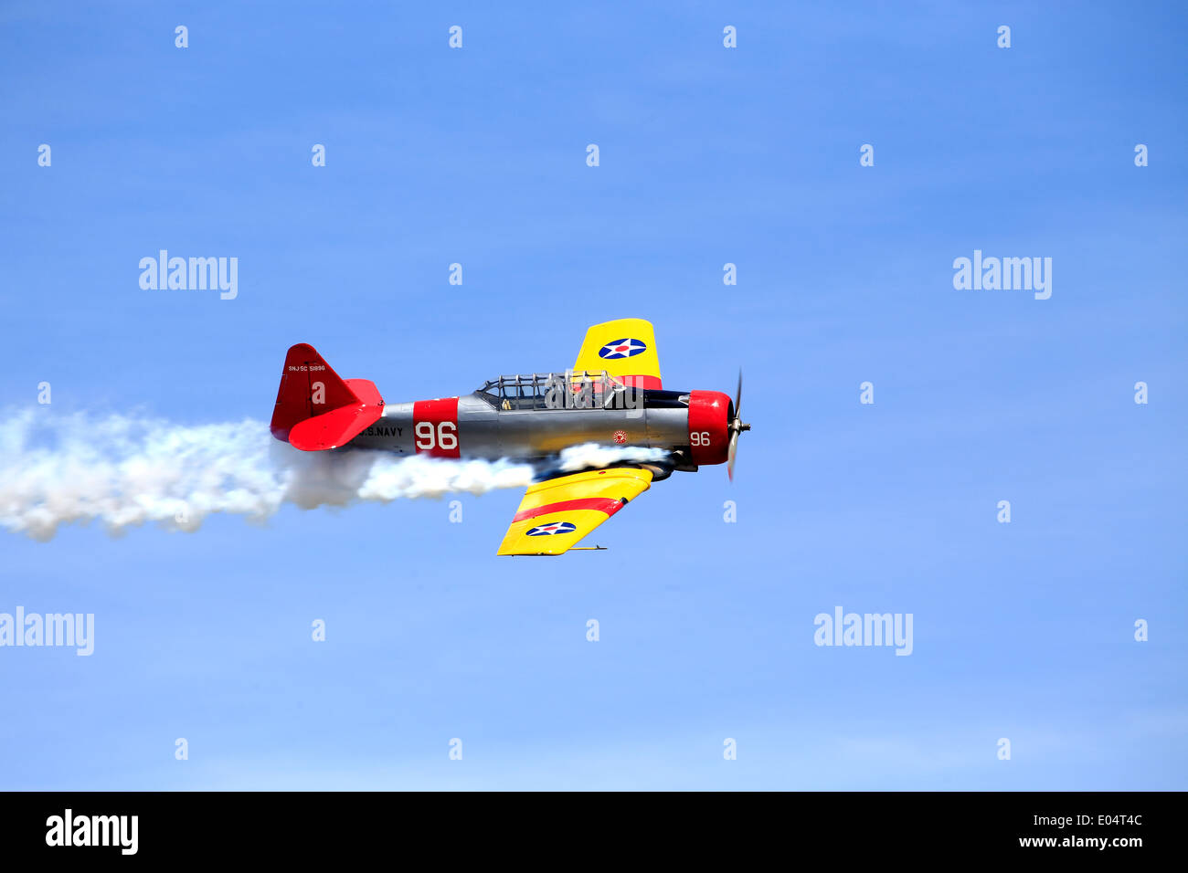 North American Aviation T-6 Texan, a single-engined advanced trainer aircraft used to train pilots of the United States Army - Stock Image