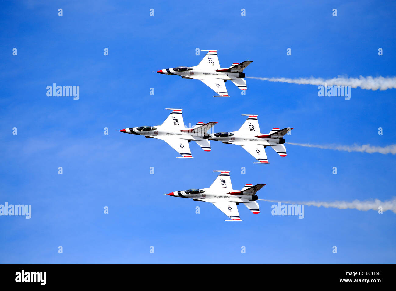 The USAF Air Demonstration Squadron ('Thunderbirds') is the air demonstration squadron of the United States Air Force (USAF) - Stock Image