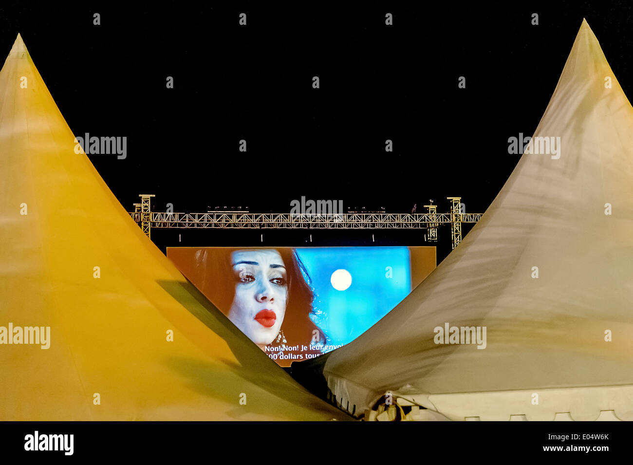 Europe, France, Alpes-Maritimes, Cannes. Projection outdoor movie for the film festival. - Stock Image