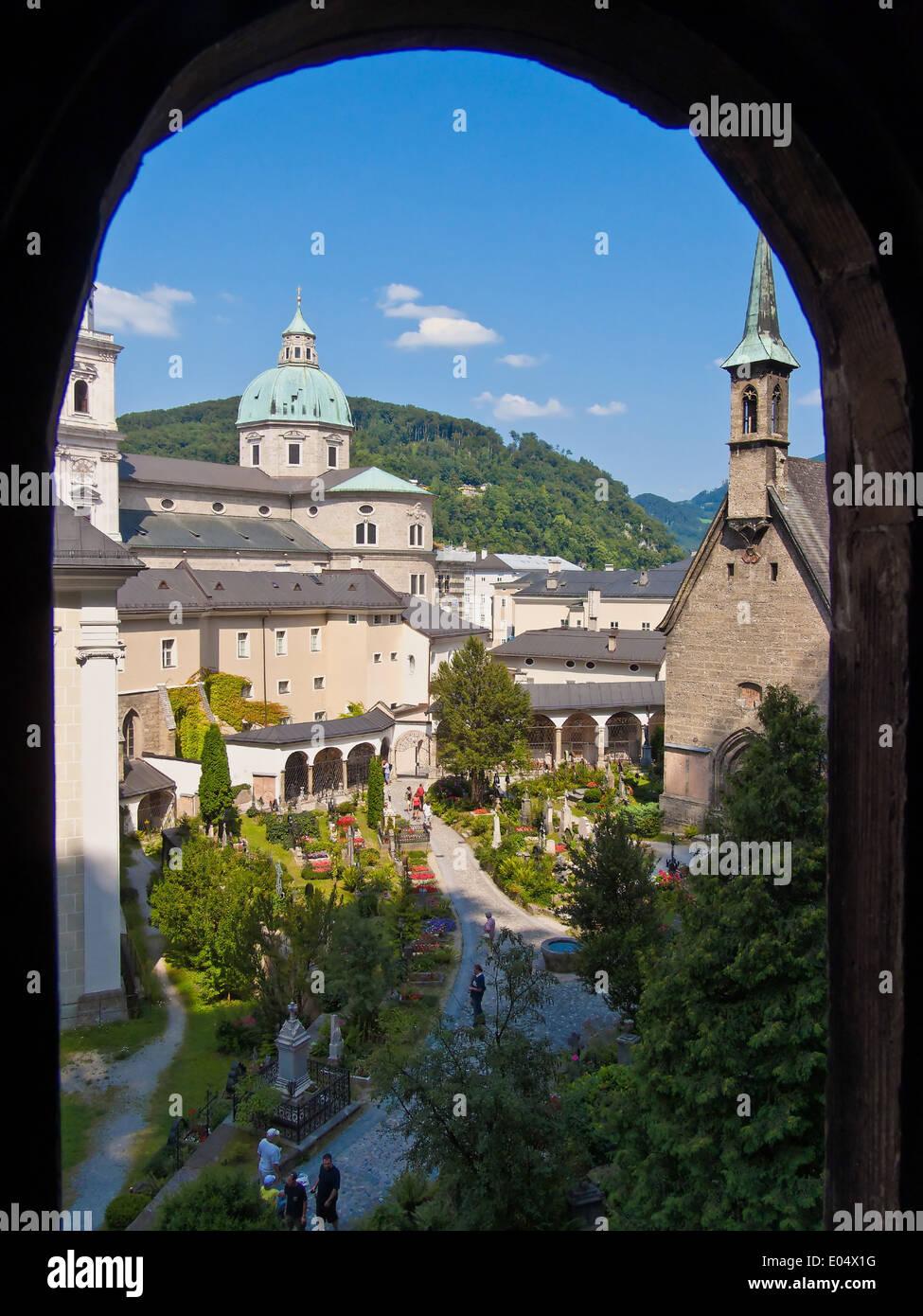 Austria, city of Salzburg, town view of high salt castle, oesterreich, Stadt Salzburg, Stadtansicht von Hohensalzburg - Stock Image
