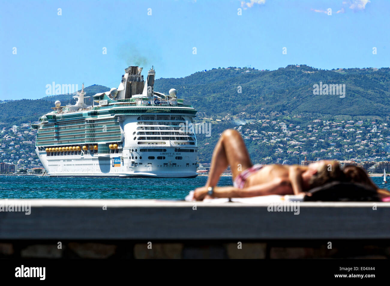Europe, France, Alpes-Maritimes, Cannes. Rest front of a liner. - Stock Image