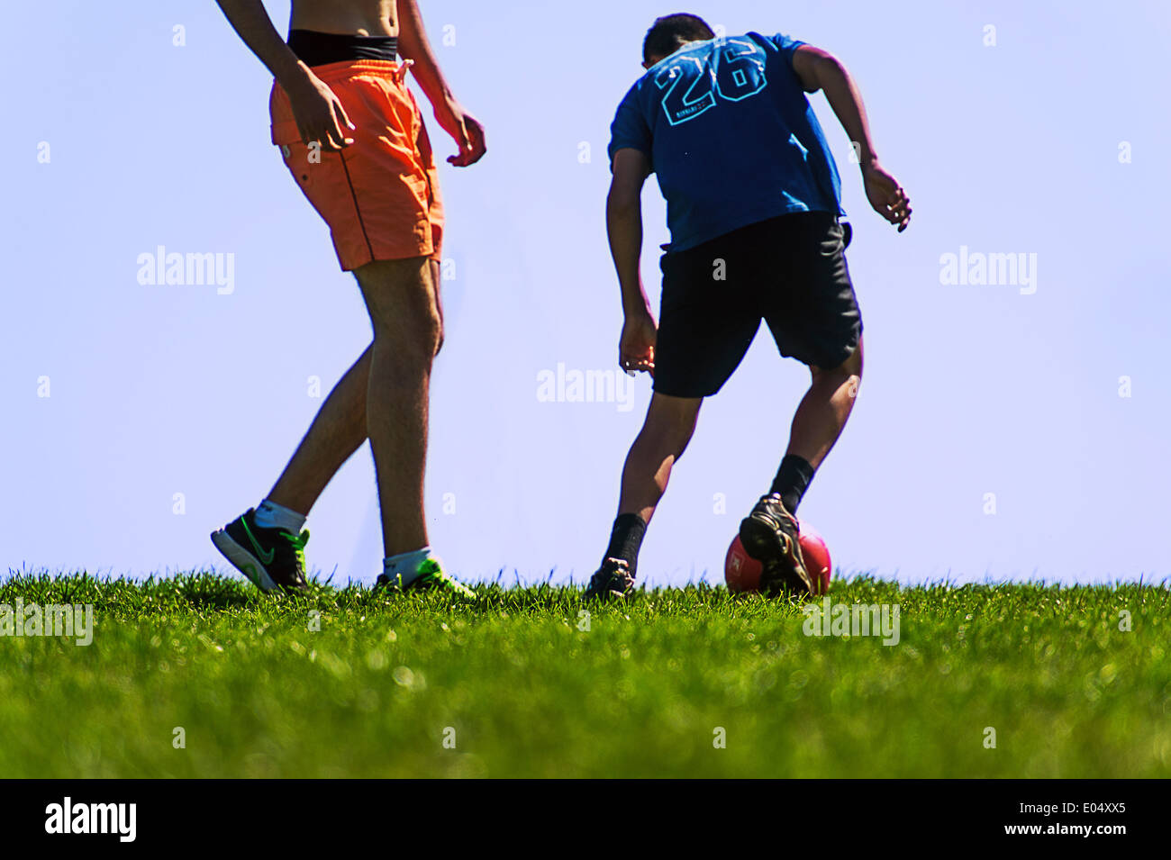 Europe, France, Alpes-Maritimes, Cannes. Playing football. Stock Photo