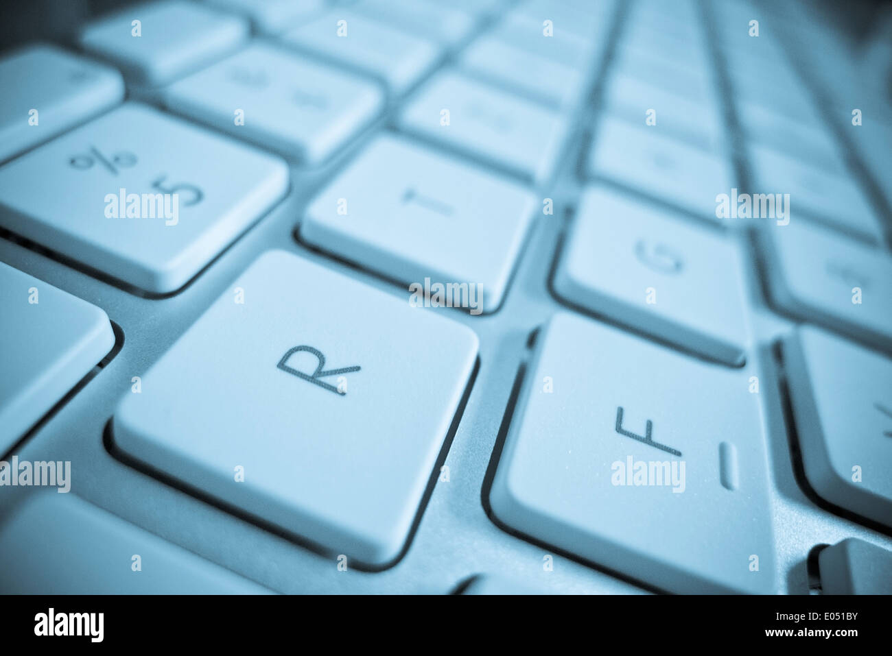 The keys of a computer in close-up. Data processing and Internet - Stock Image