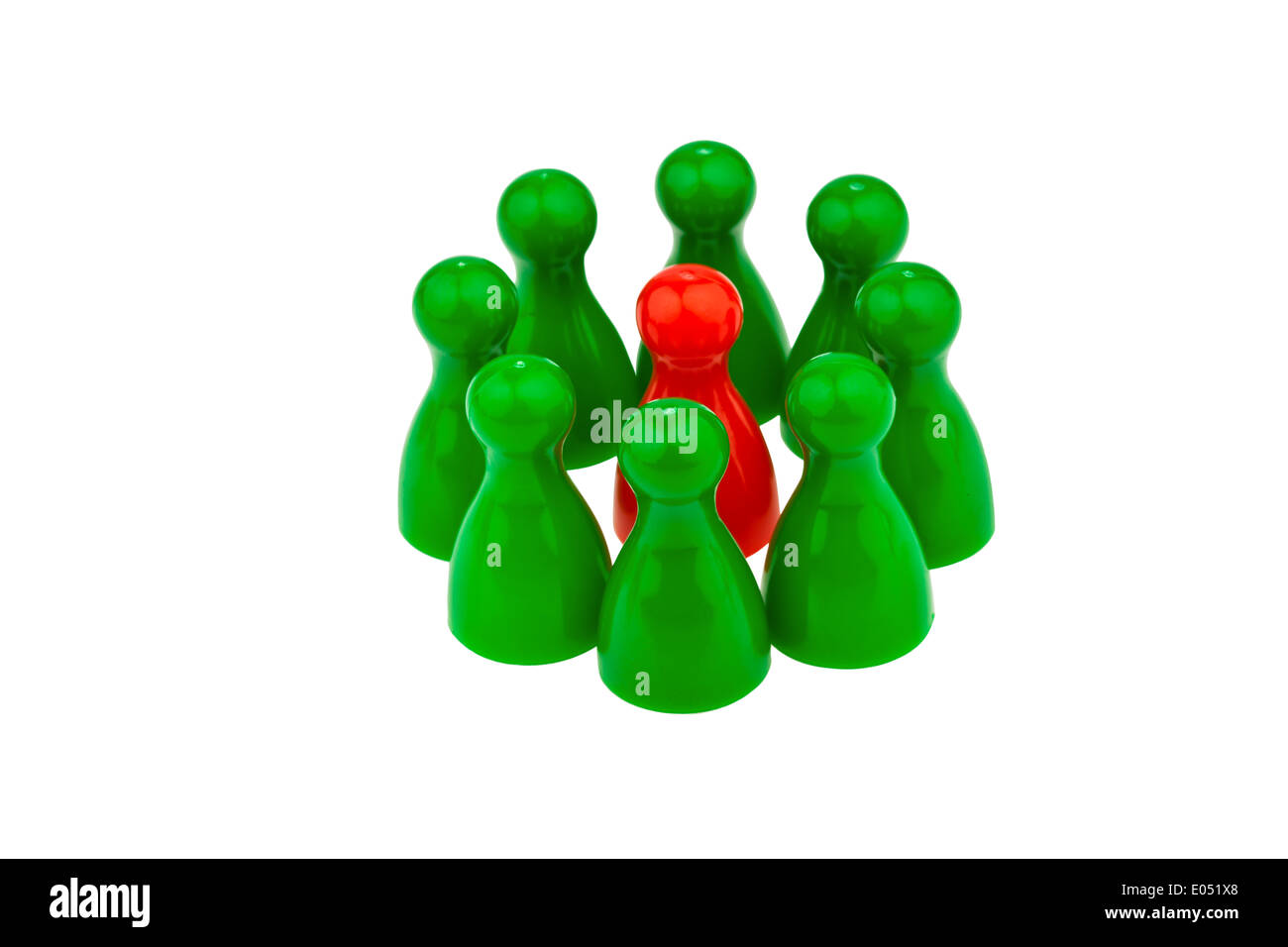 Red and green play figures. Differently in the team. Women's rate in the job., Rote und gruene Spielfiguren. Anders im Team. Fra - Stock Image