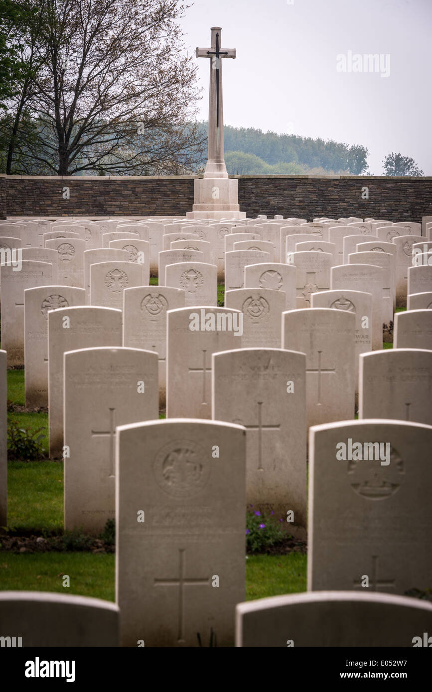 British World War One military cemetery at Hill 62, Passchendaele, Belgium Stock Photo