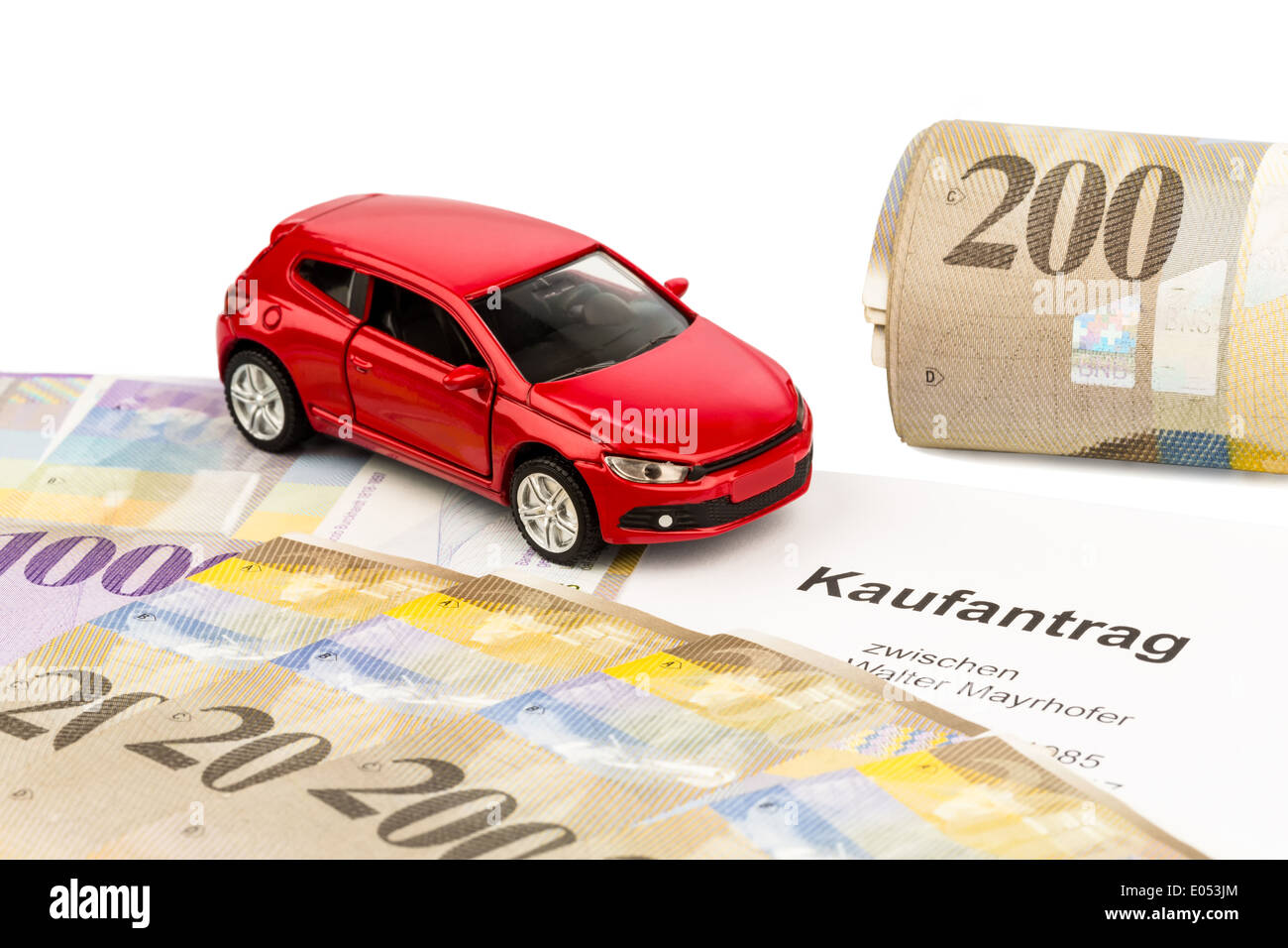 the bill of sale for a new car with a swiss car dealer with swiss