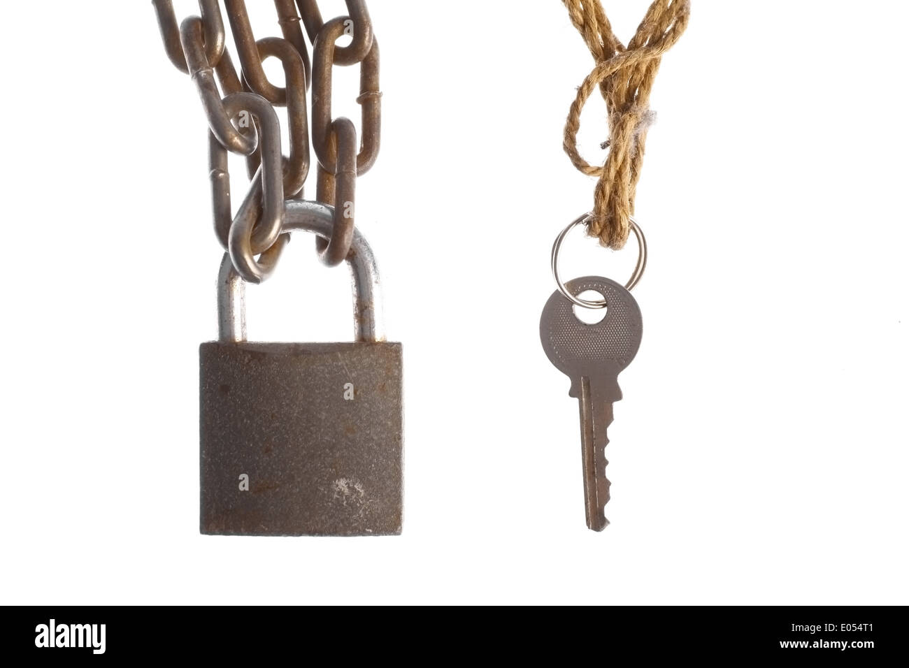 A padlock and a key, isolated on white. Stock Photo