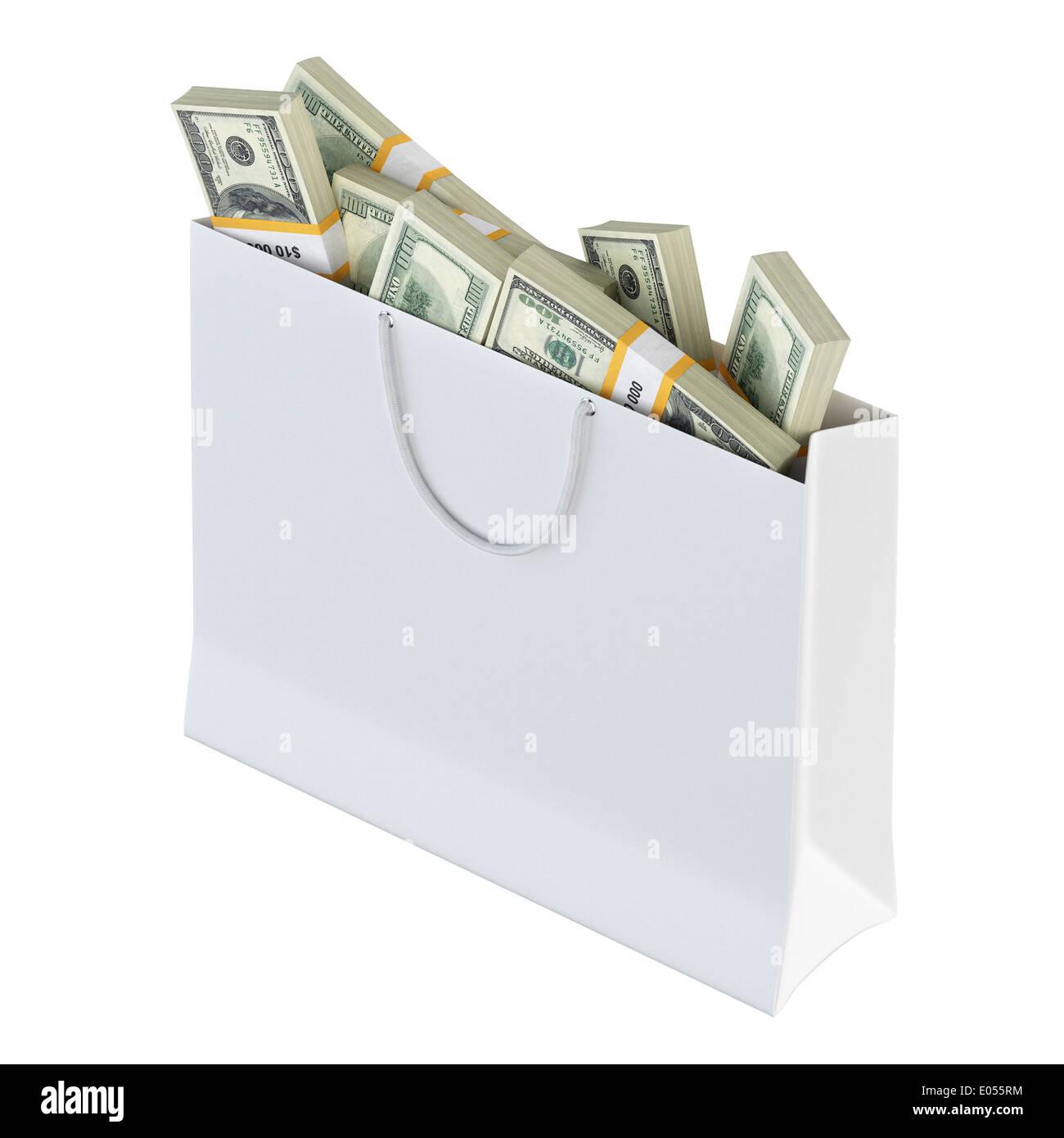 White paper bag full of money Stock Photo