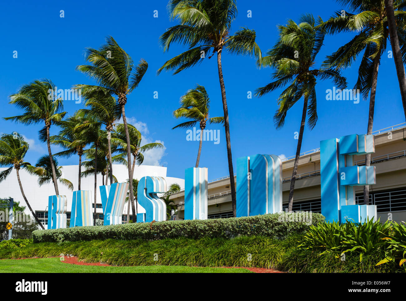 Sign outside Bayside Marketplace in downtown Miami, Florida, USA - Stock Image