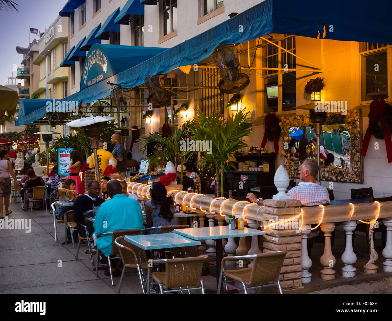 Restaurant On Ocean Drive At Night South Beach Miami Beach