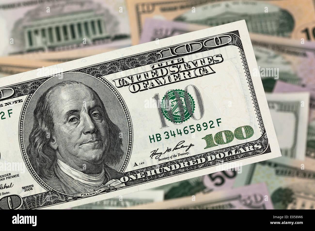 American dollar of bank notes from the USA, Amerikanische Dollar Geldscheine aus den USA Stock Photo