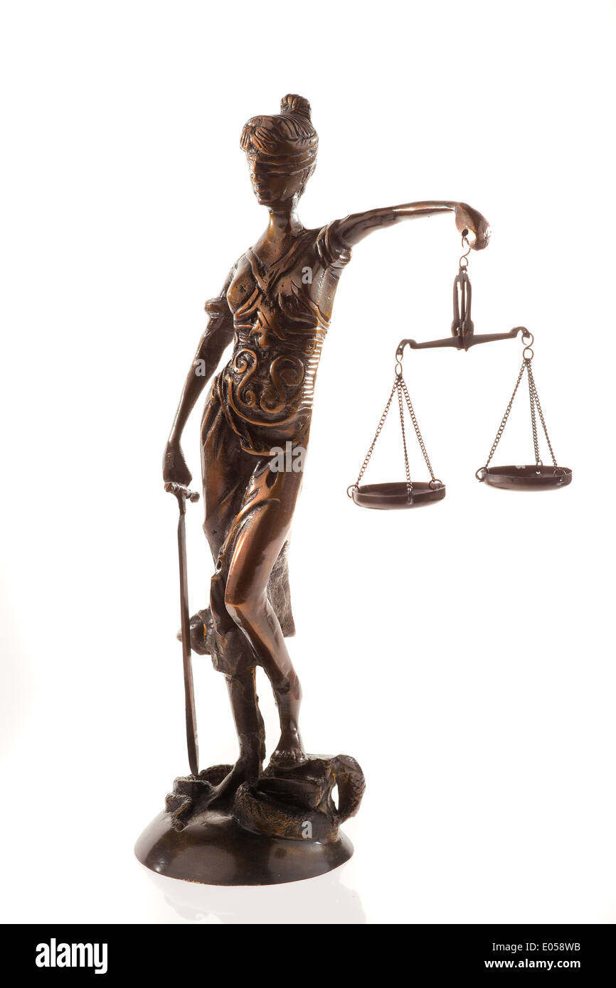 Justice With Scales Symbol For Justice Isolated Before White Stock