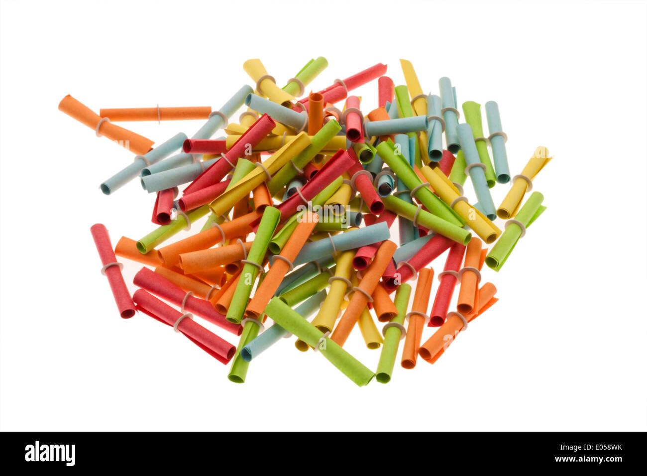 Many coloured Chinese Without luck lie chaotically in a mess, Viele bunte chinesische Glueckslose wirr liegen durcheinander - Stock Image