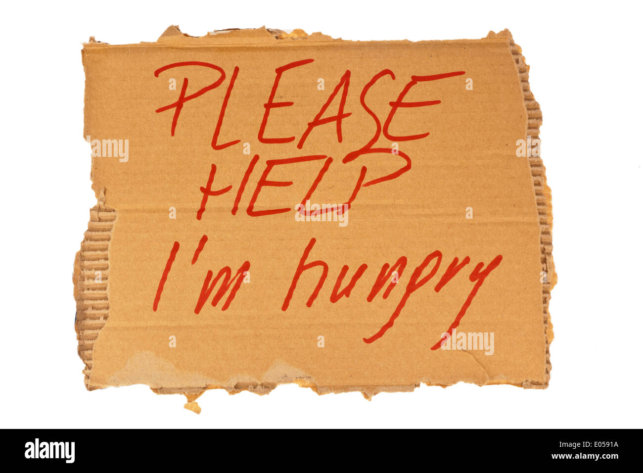 The sign from cardboard of a homeless. Isolated on white background, Das Schild aus Karton eines Obdachlosen. Isoliert auf weiss - Stock Image