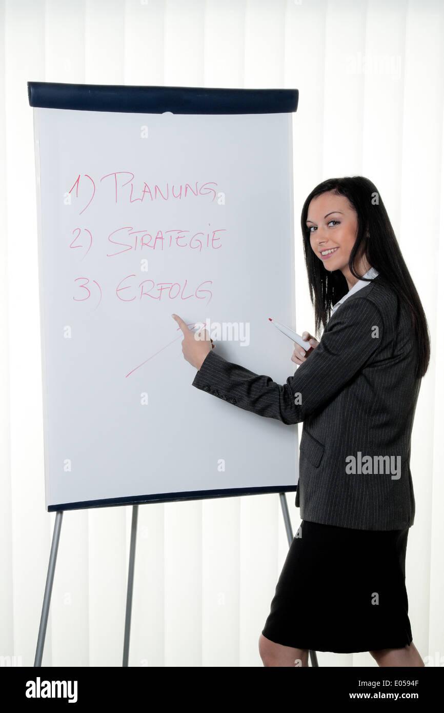 Coach Flipchart into German. Training and education, Coach Flipchart in Deutsch. Schulung und Ausbildung Stock Photo