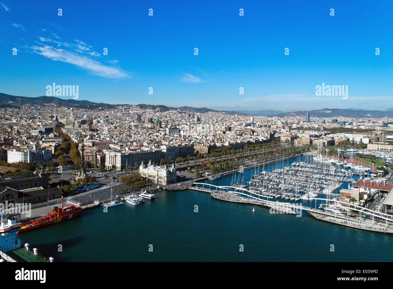 Spain - Barcelona - overview, Spanien - Barcelona - uebersicht - Stock Image
