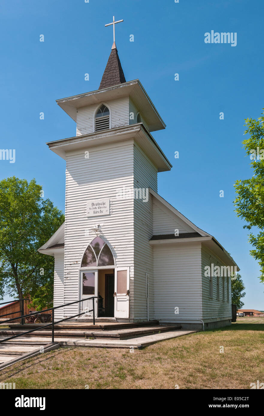 Montana, Hardin, Big Horn County Historical Museum, Christ Evangelical Lutheran Church built 1917 by German settlers - Stock Image