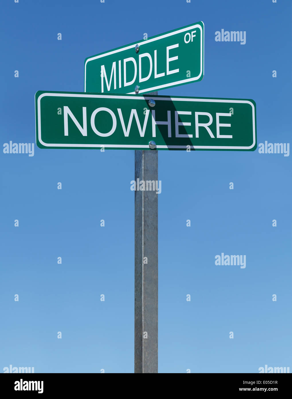 Two Green Street Signs Middle of Nowhere on a Metal Pole with Blue Sky Background. - Stock Image