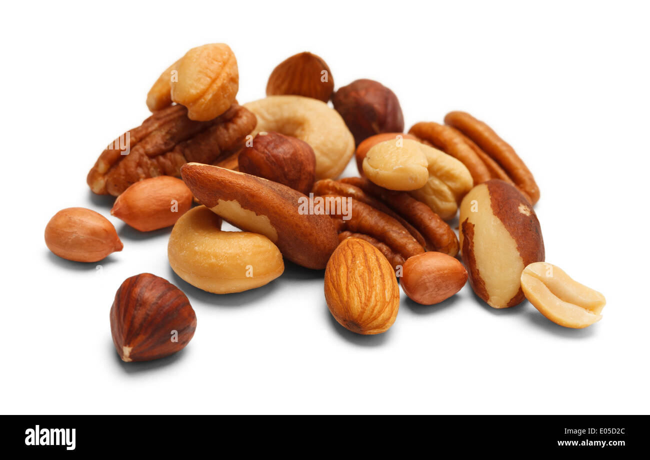 Variety of Mixed Nuts Isolated on White Background. - Stock Image