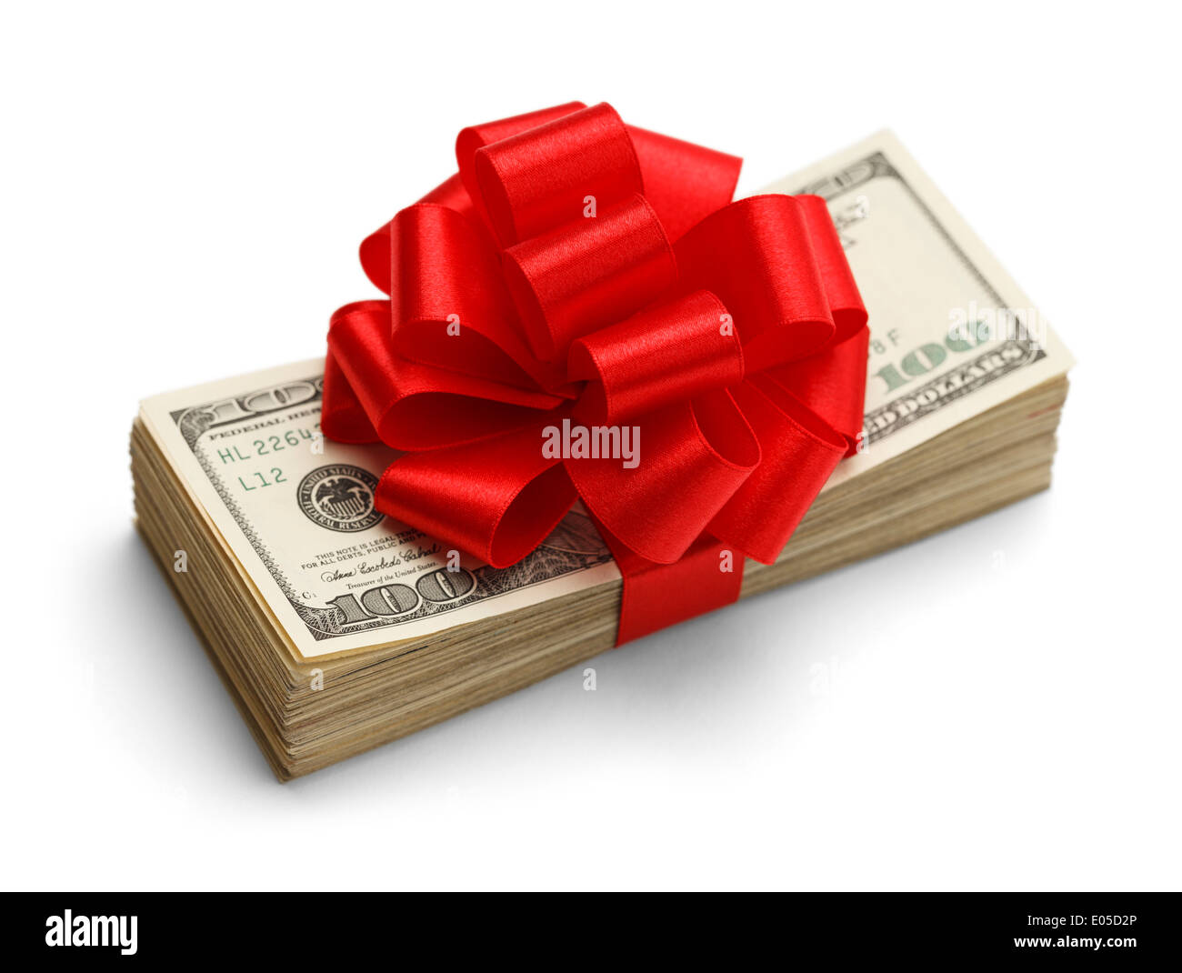 Christmas Bonus Gift Present Stack of Cash Money Hundred Dollar US Bills With Red Bow Isolated on White Background. - Stock Image