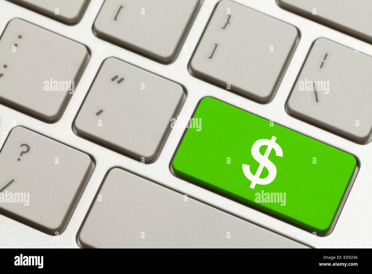 Close Up Of Green Money Key With Cash Symbol On A Keyboard Stock