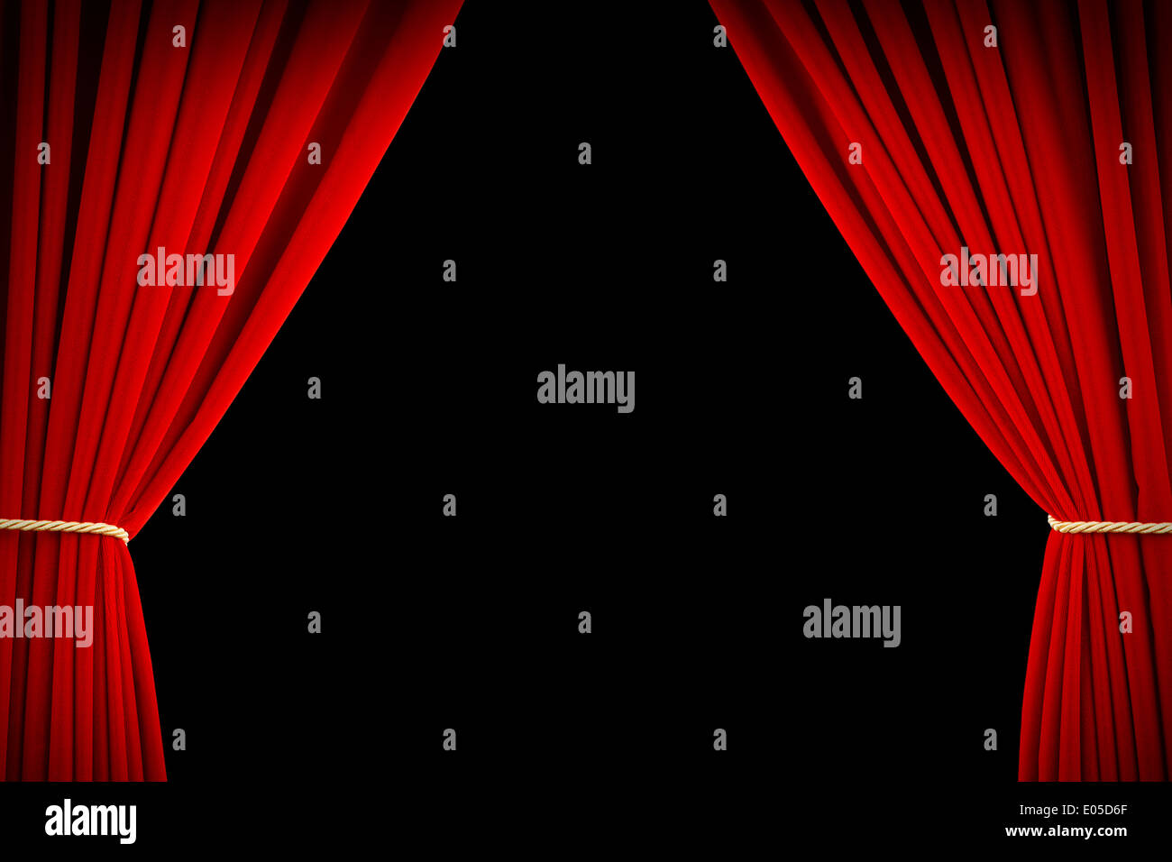 Open Red Velvet Movie Curtains with Black Screen. - Stock Image