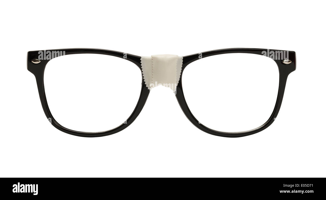 Front View Black Nerd Glasses with Tape, Isolated on White Background. - Stock Image