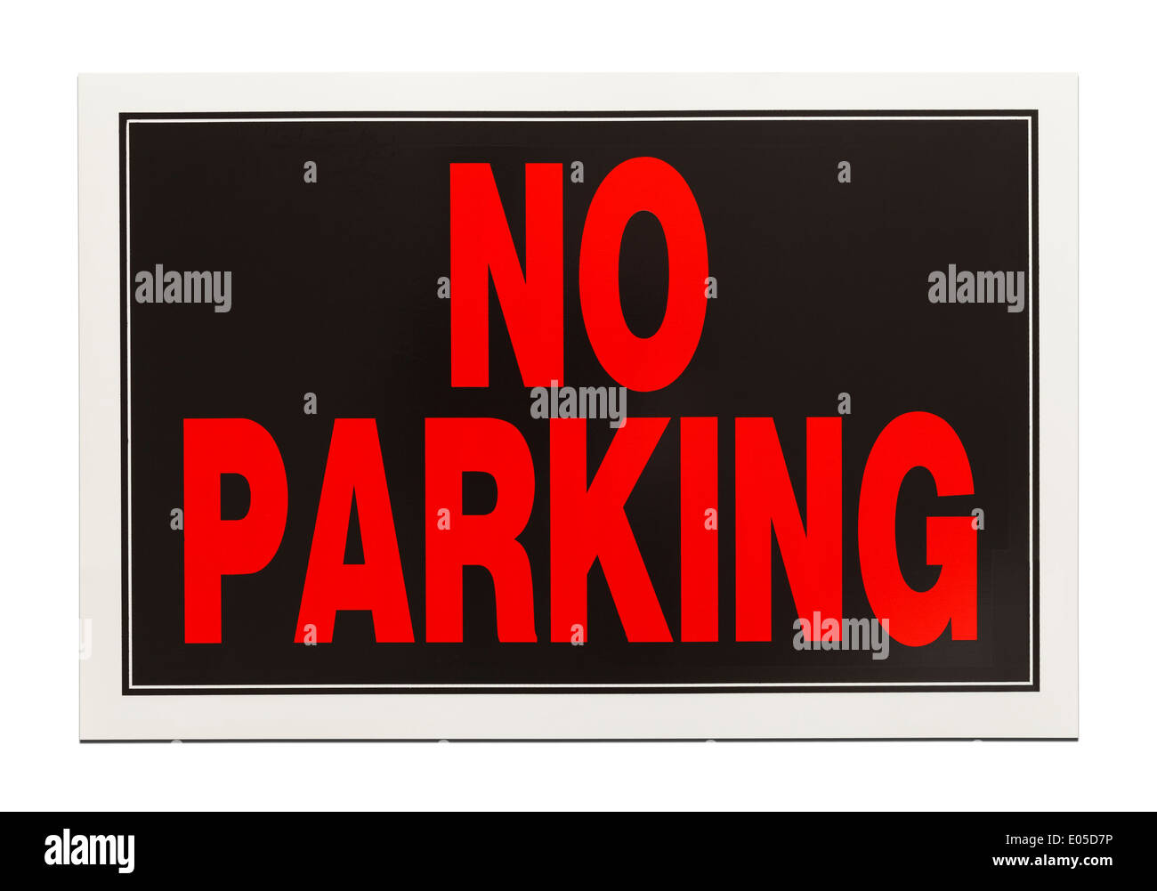 Black and Red Plastic No Parking Sign Isolated on White Background. - Stock Image