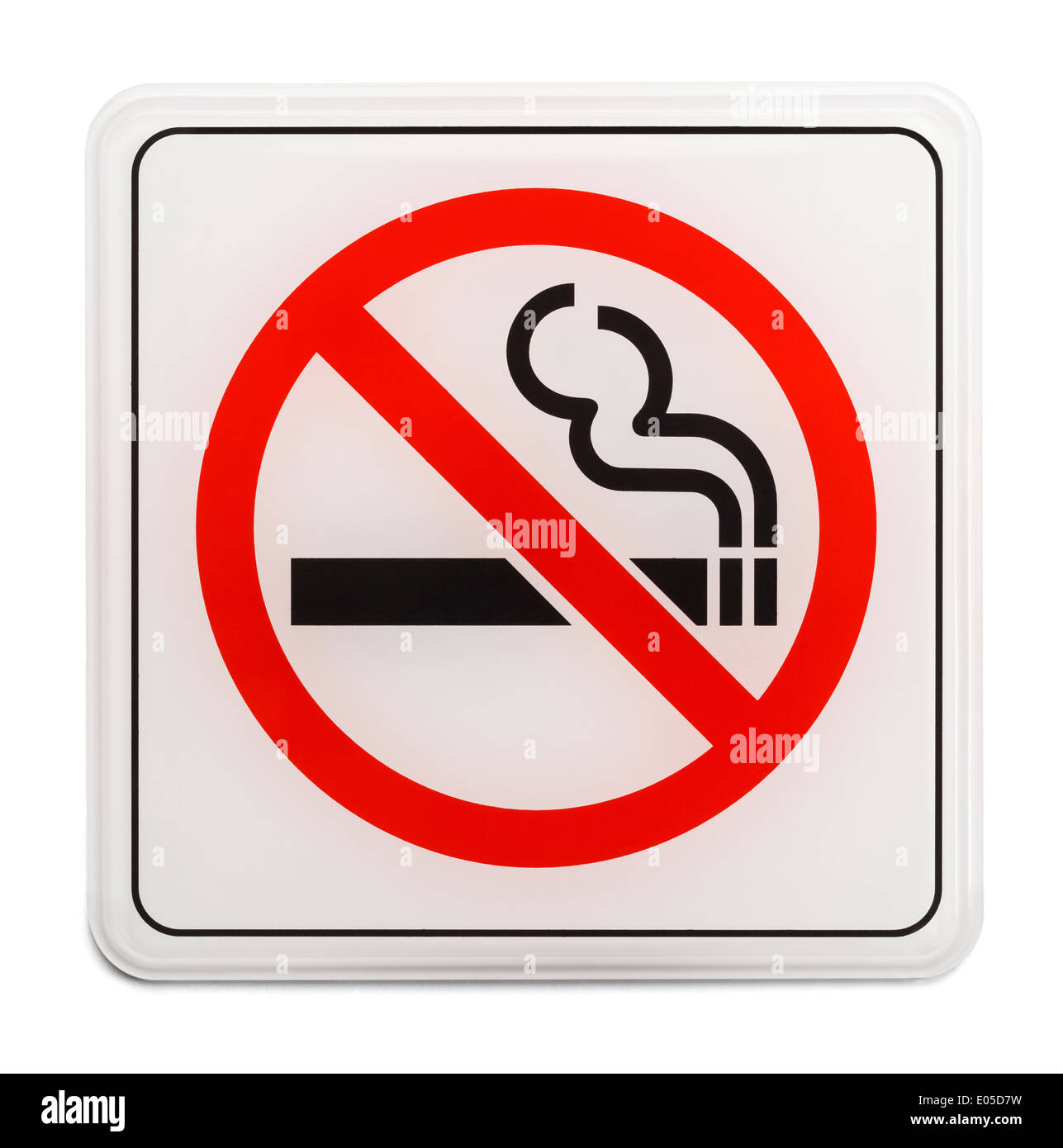 square red and black no smoking sign isolated on white background stock image