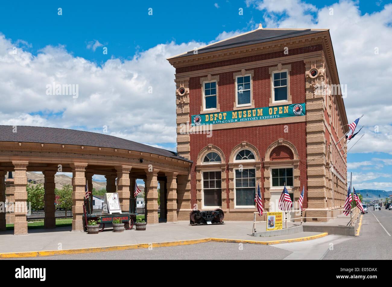 Montana, Livingston, Livingston Depot Center, restored 1902 Northern Pacific Railroad station - Stock Image