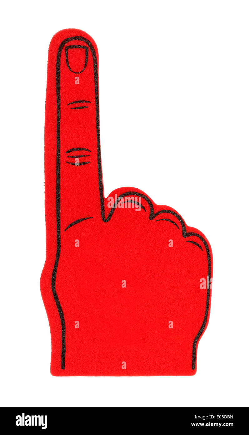 Red Foam Finger with Copy Space, Isolated on White Background. - Stock Image