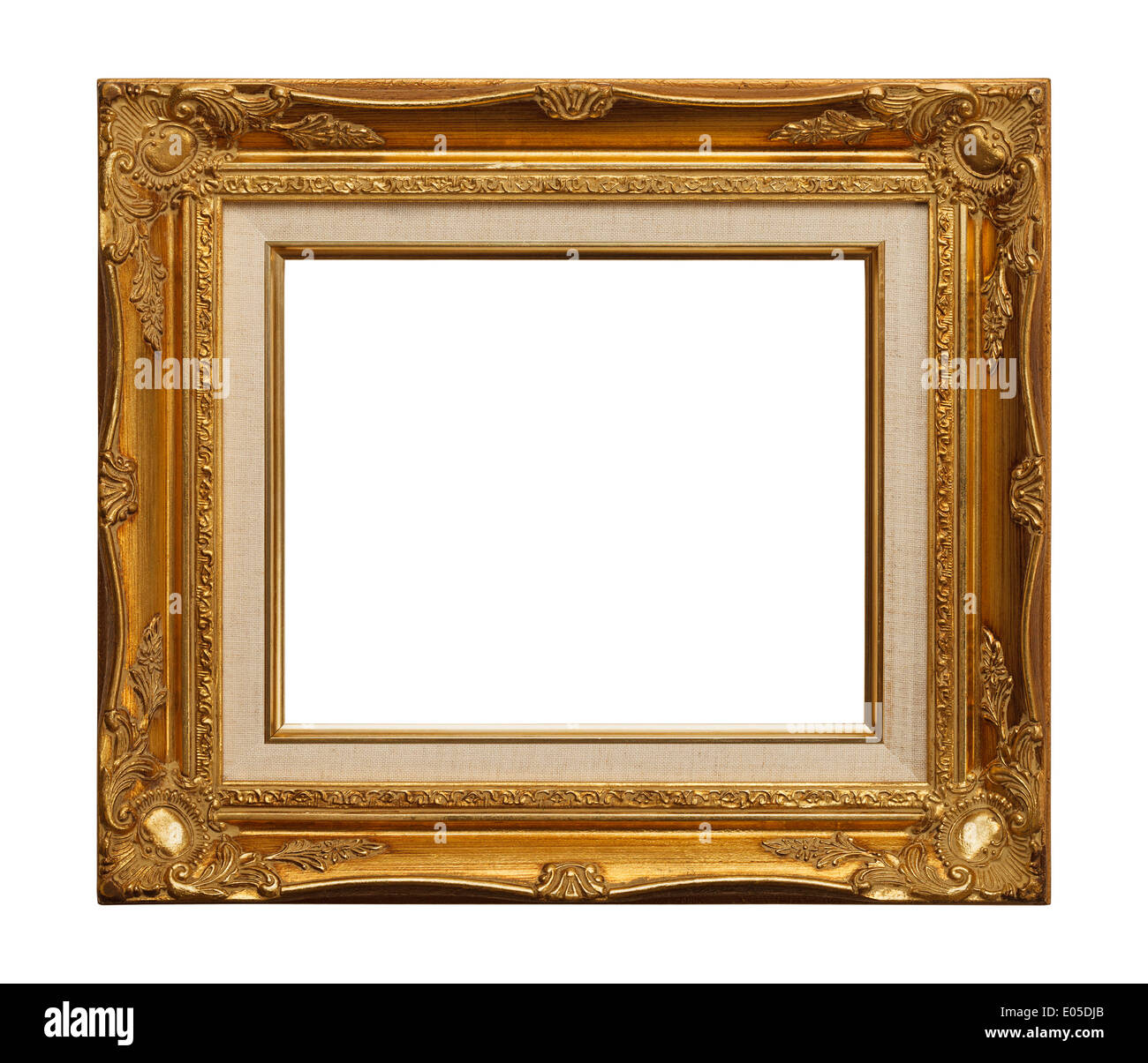 Retro Ornate Gold Leaf Frame Isolated on White Background Stock ...