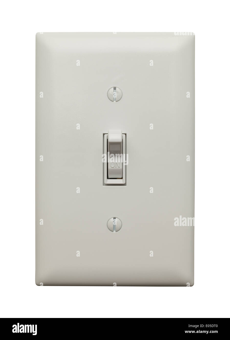 Light Switch in the On Postion Isoleted on White Background. - Stock Image