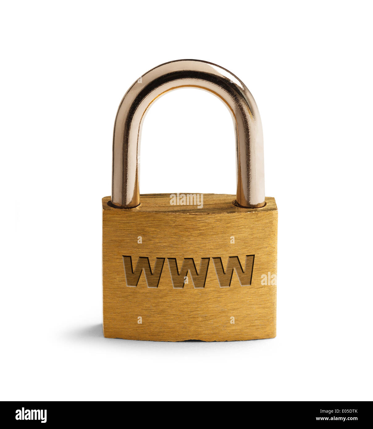 Brass Padlock with WWW on surface Isolated on White Background. - Stock Image