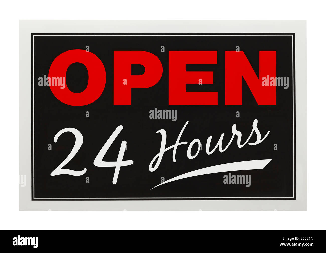 Red and Black Open 24 Hours Sign Isolated on White Background. - Stock Image