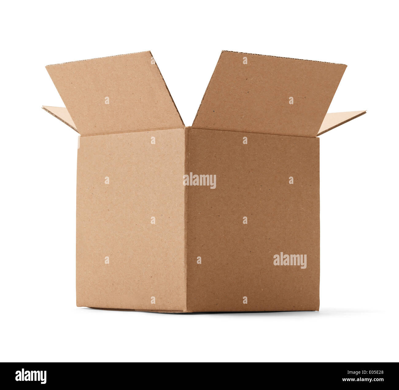 Upward view of a brown cardboard box isolated on a white background. - Stock Image