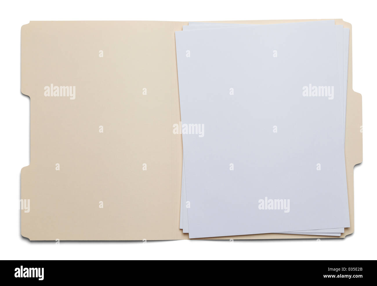 File Folder with Blank White Paper Isolated on White Background. - Stock Image