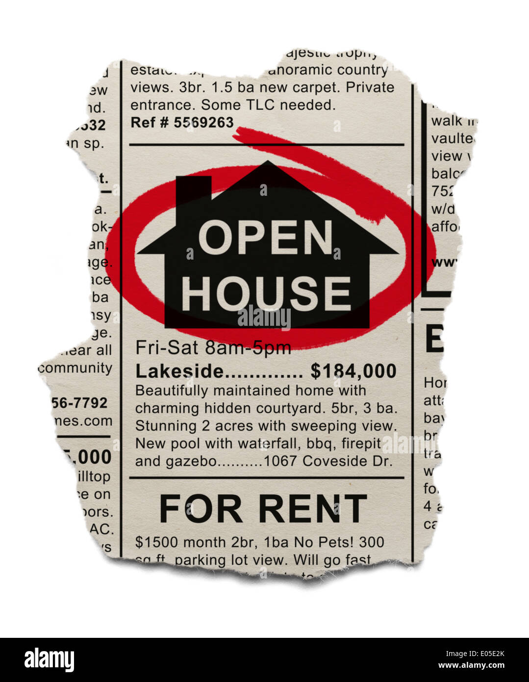Real Estate Open House Ad circled with Red Marker Isolated On White Background. - Stock Image
