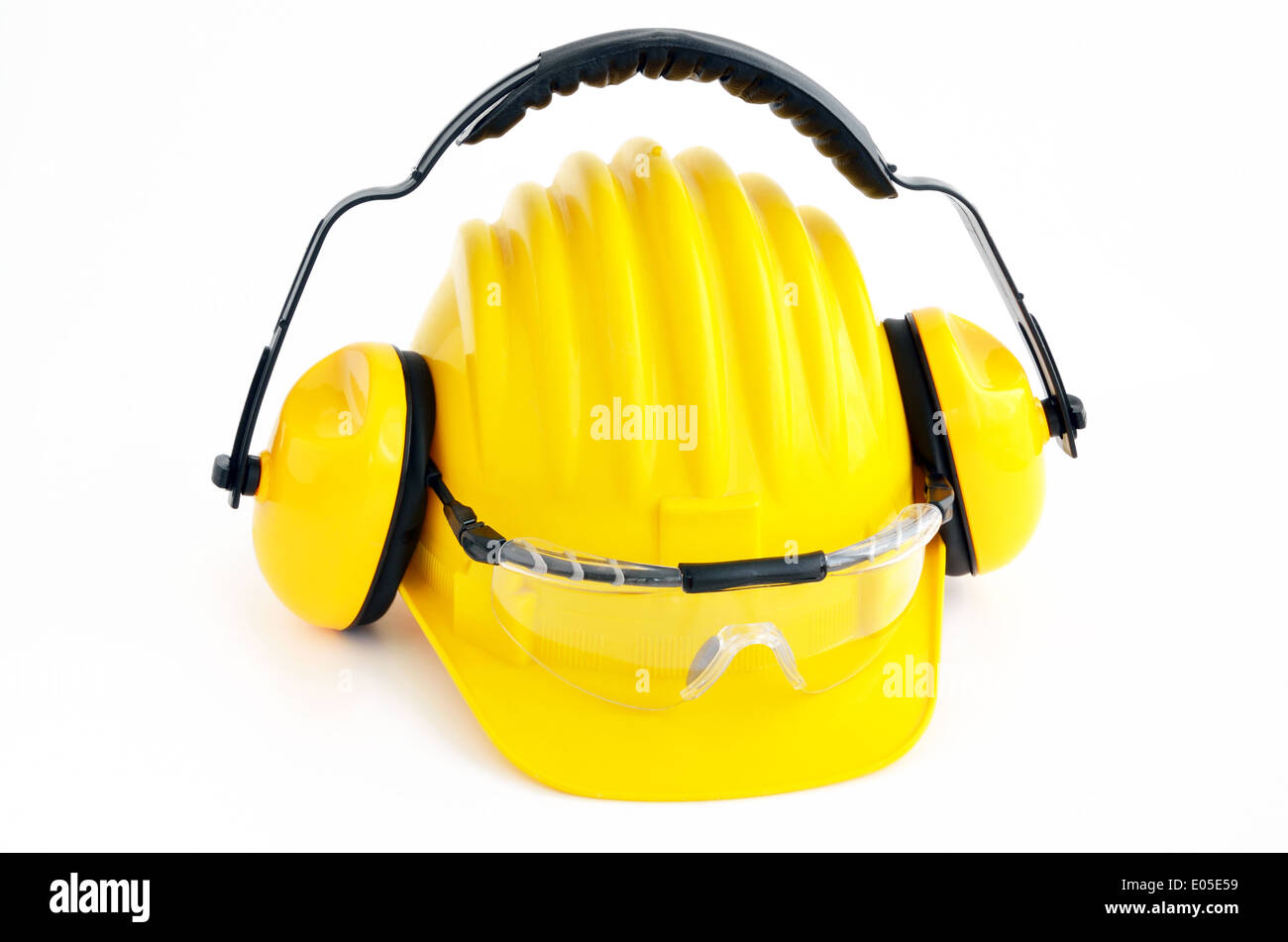 hard hat, goggles and ear muffs isolated on white - Stock Image