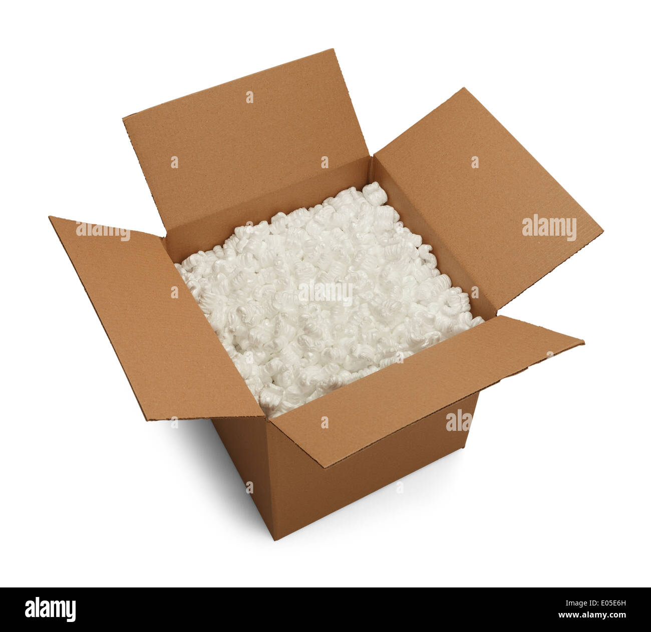 Open Brown Cardboard Box with Packing Peanuts Inside Isolated on White Background. - Stock Image