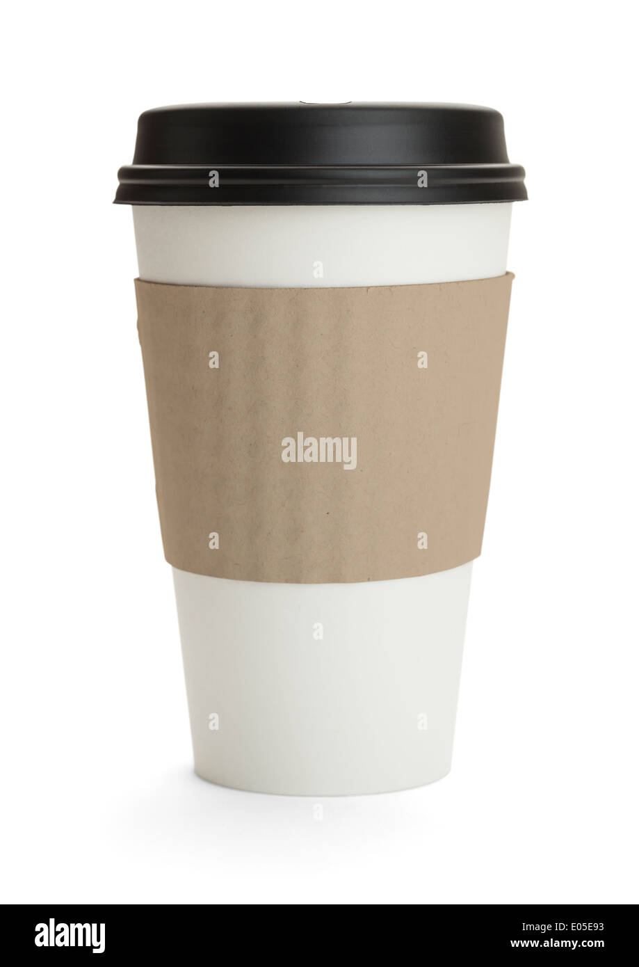 White Cup with Black Lid Isolated on White Background. - Stock Image