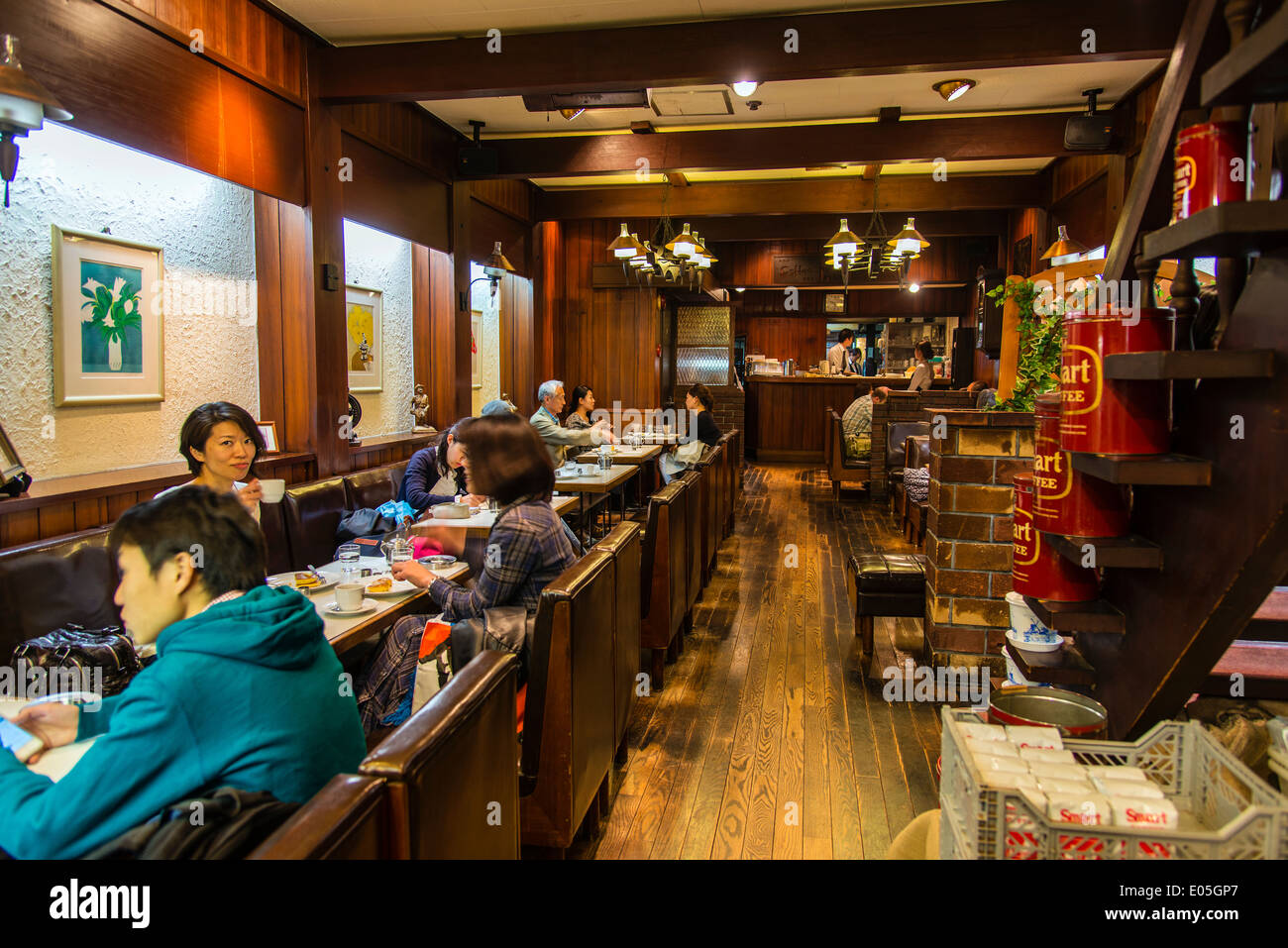 Interior view of a cafe in Kyoto, Japan Stock Photo